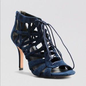Pour La Victoire Charlize Blue Cage Lace Up Heels